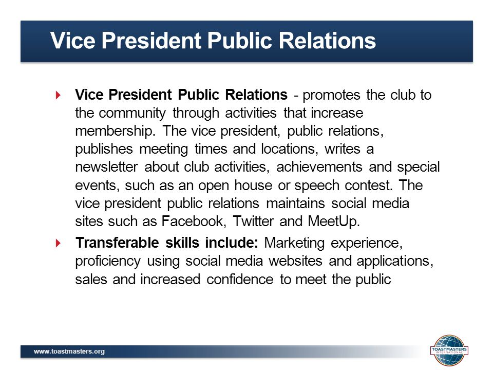 Vice President Public Relations