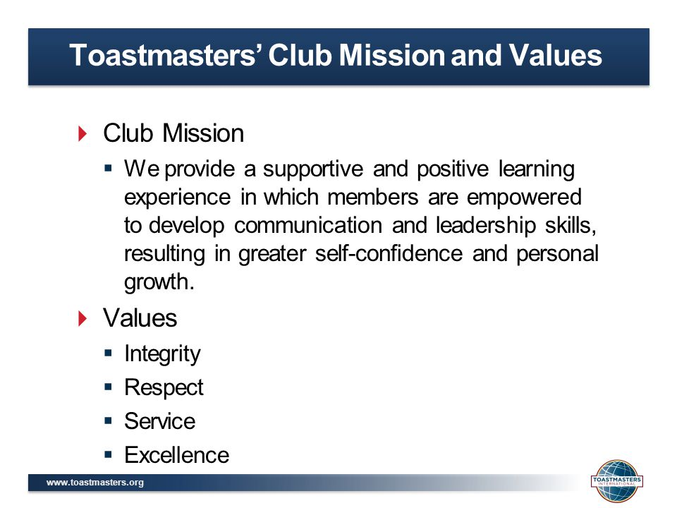Toastmasters' Club Mission and Values