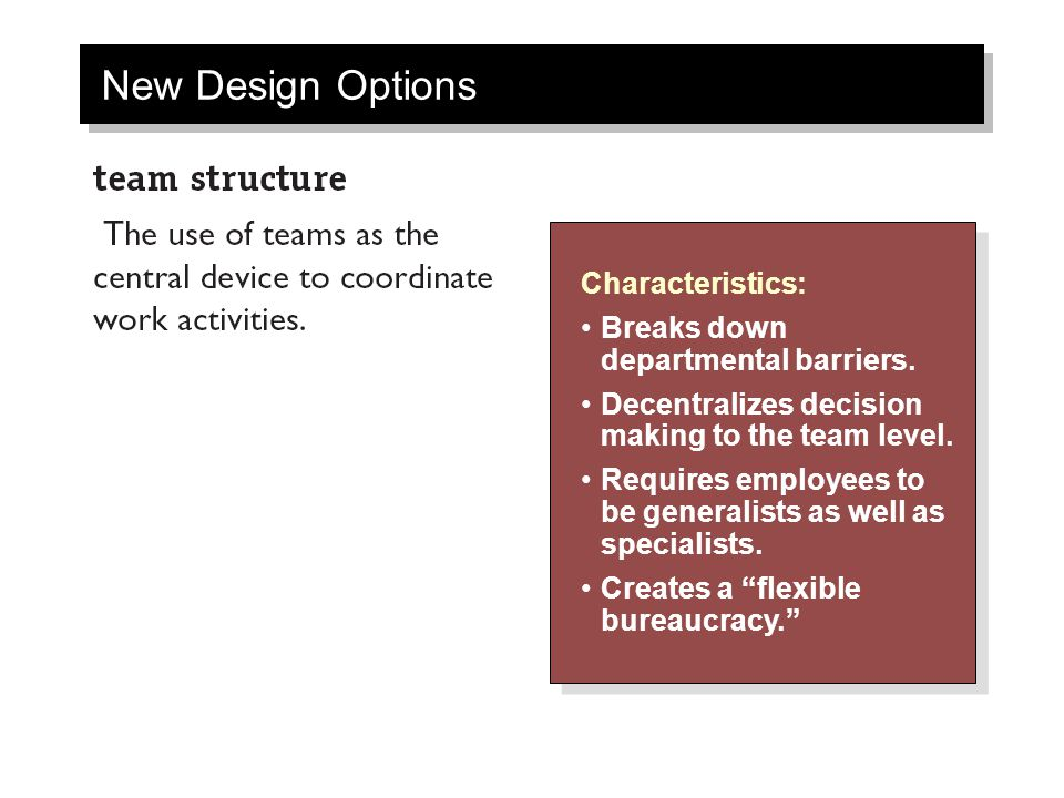 New Design Options Characteristics: Breaks down departmental barriers.