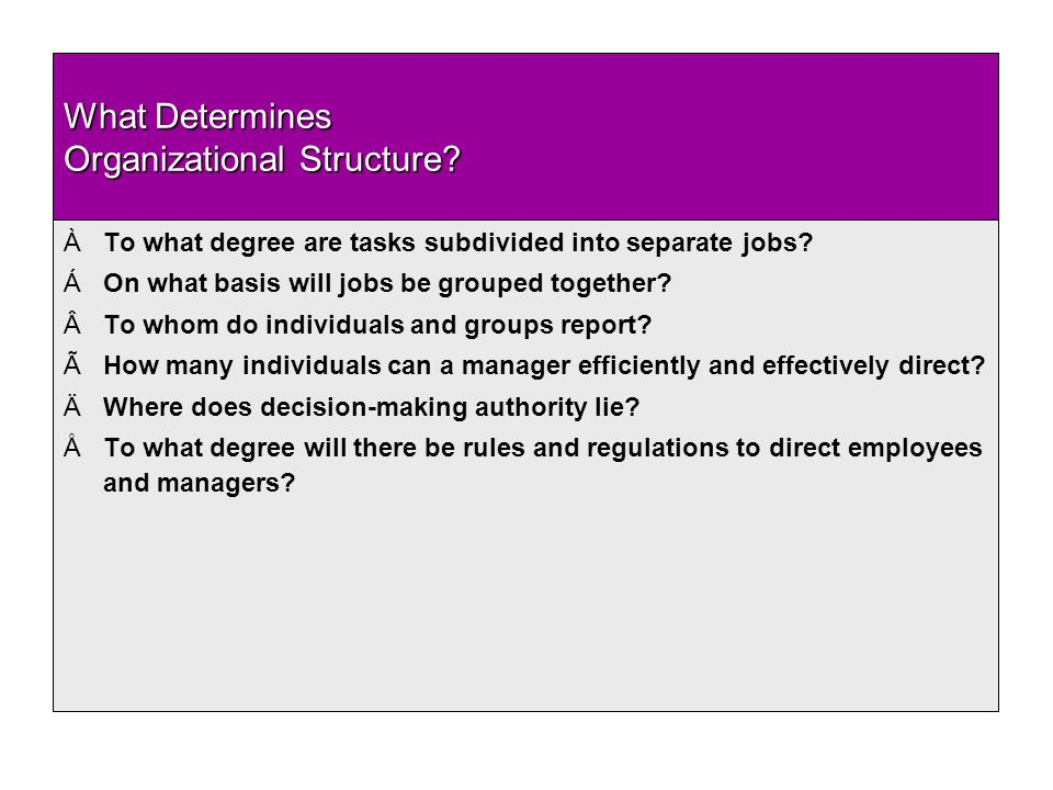 What Determines Organizational Structure