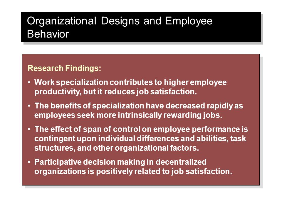 Organizational Designs and Employee Behavior