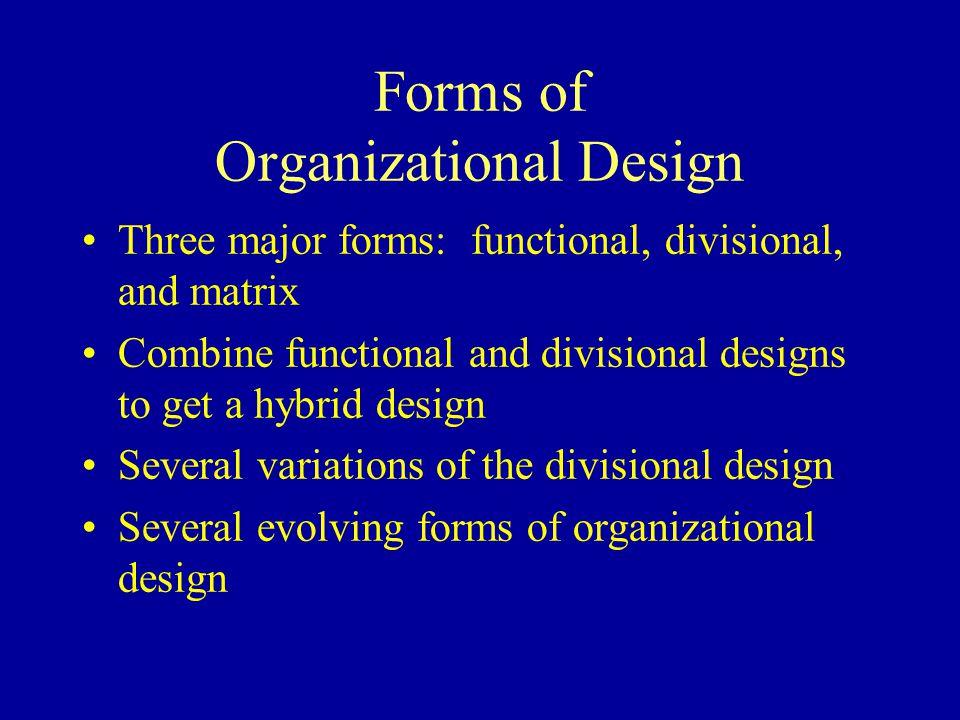 Forms of Organizational Design