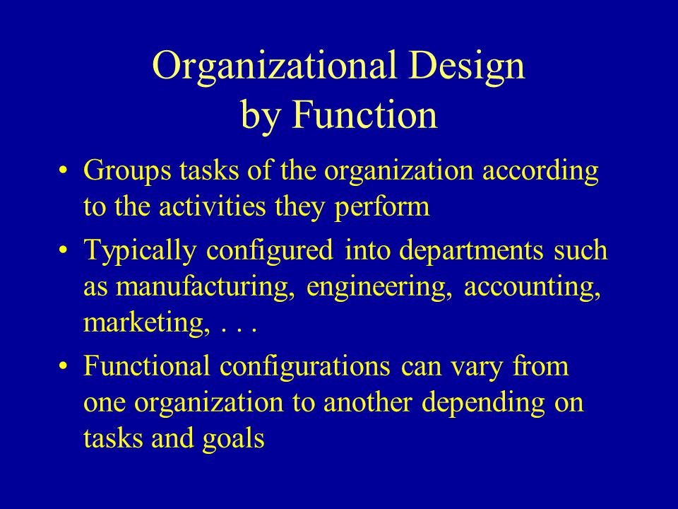 Organizational Design by Function