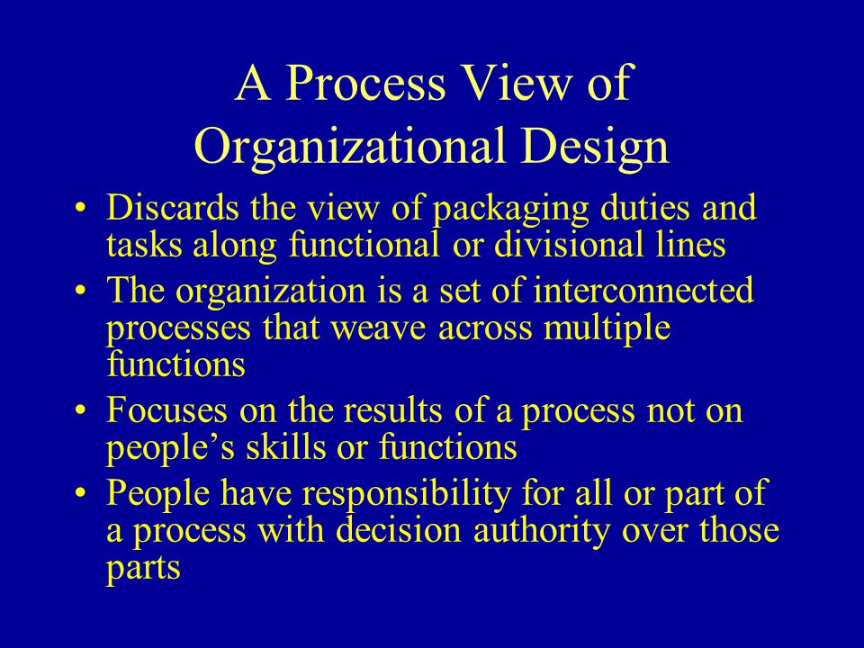 A Process View of Organizational Design