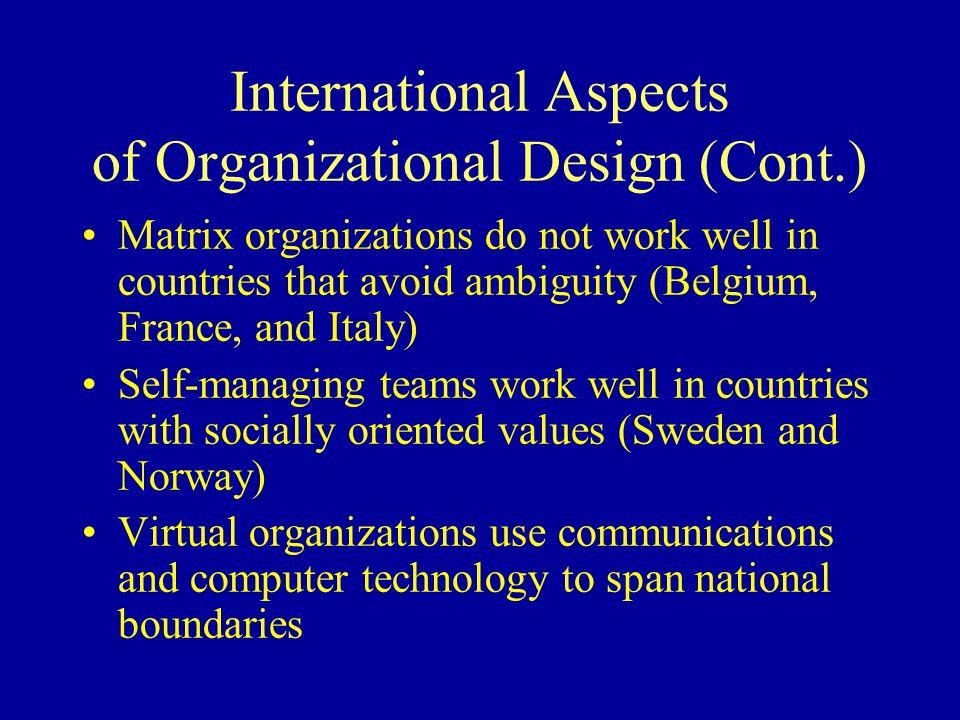 International Aspects of Organizational Design (Cont.)