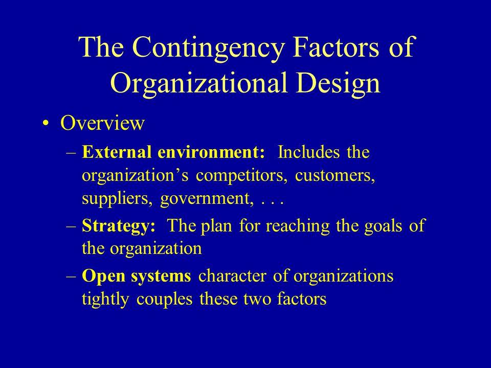 The Contingency Factors of Organizational Design