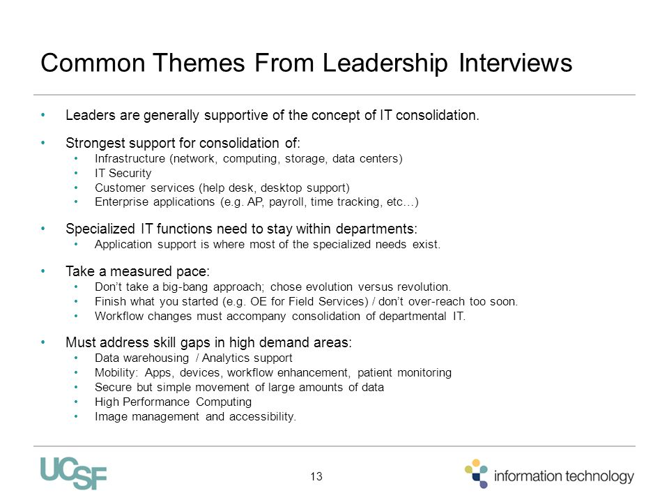 Common Themes From Leadership Interviews