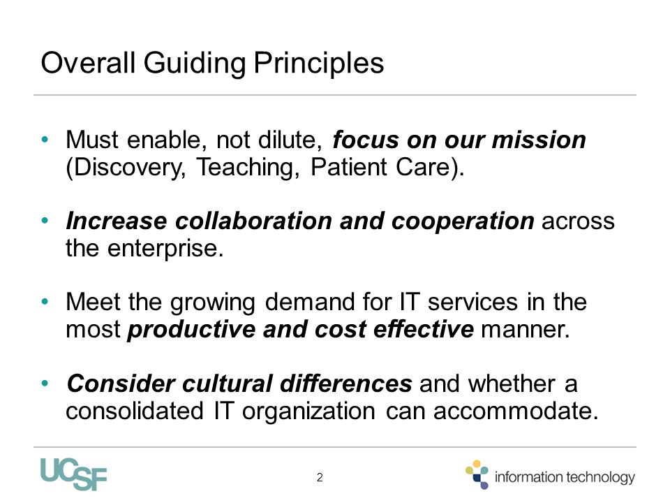 Overall Guiding Principles