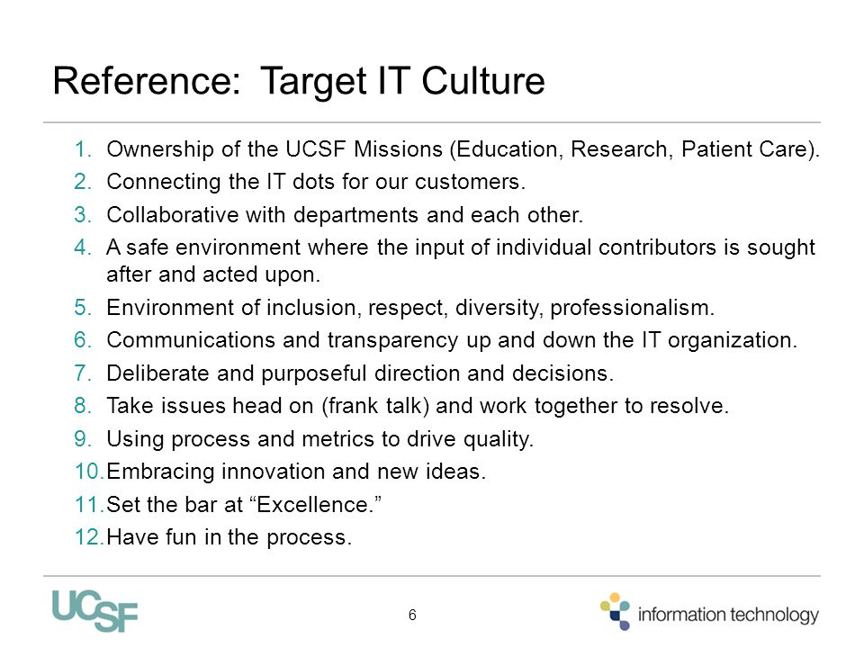 Reference: Target IT Culture