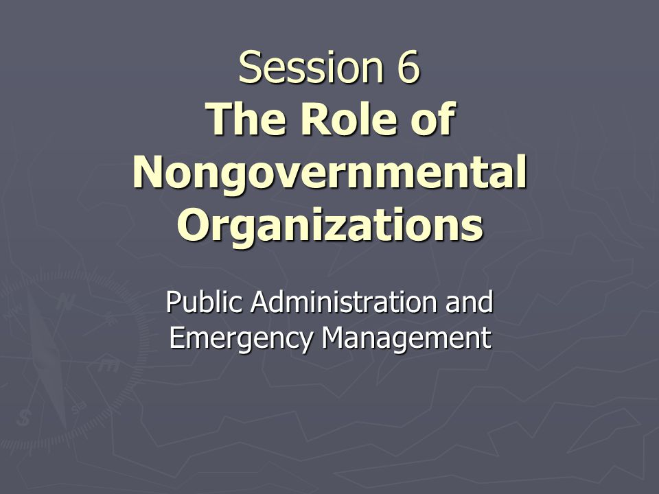 Session 6 The Role of Nongovernmental Organizations