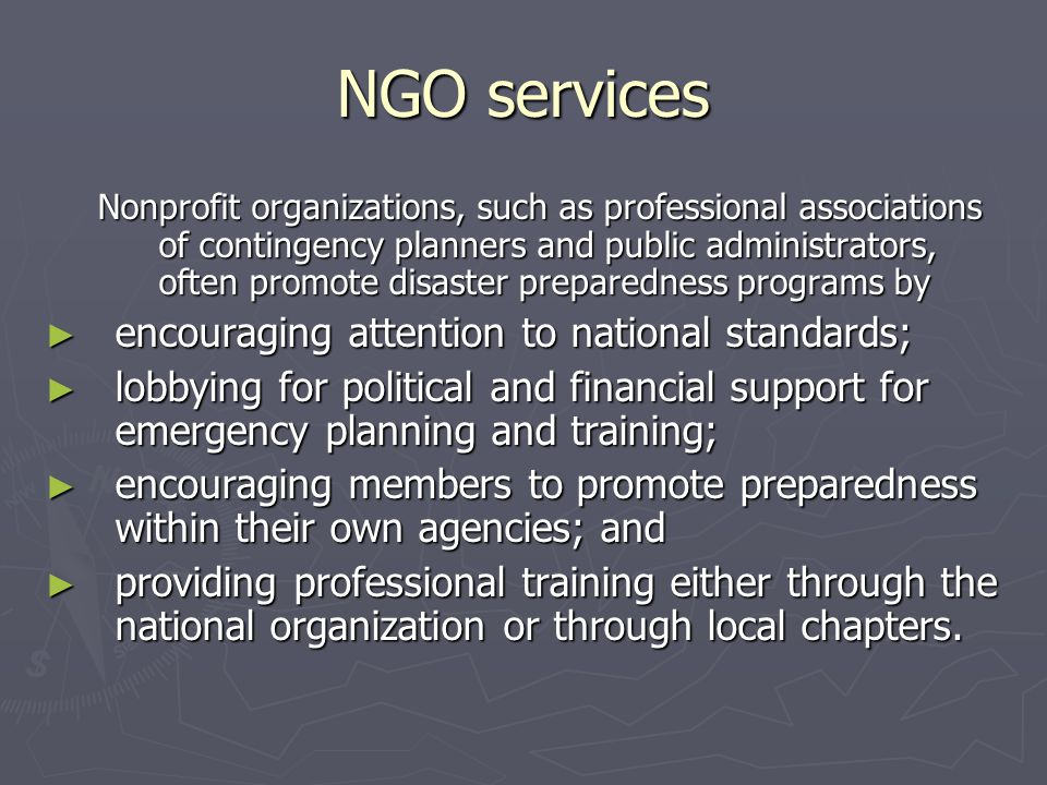 NGO services encouraging attention to national standards;