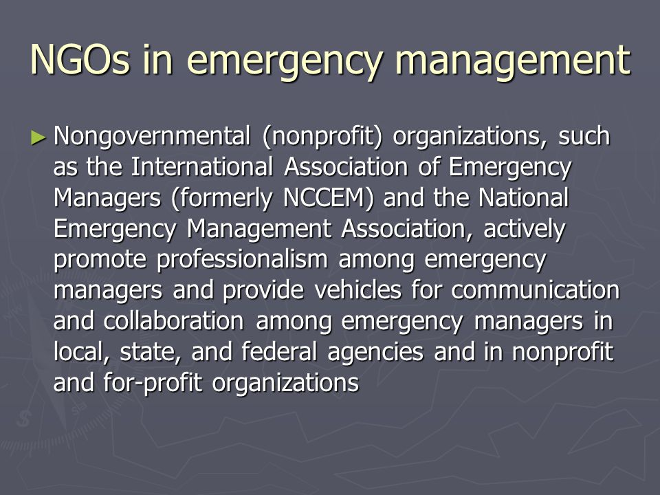 NGOs in emergency management