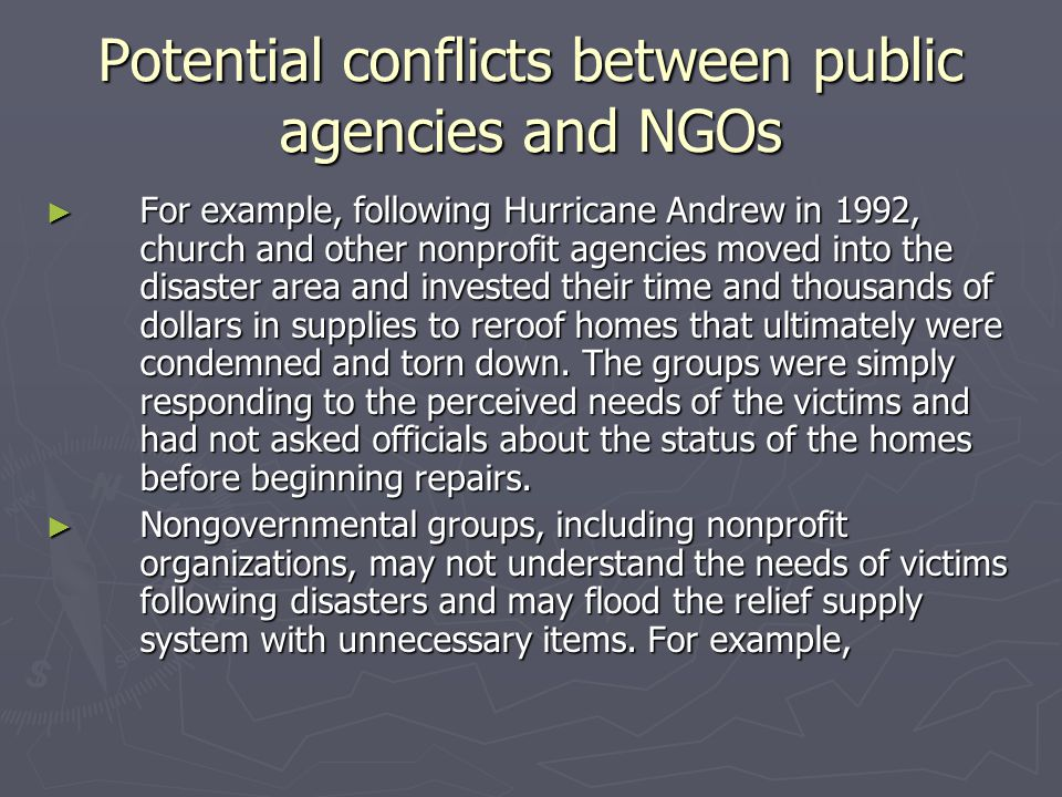 Potential conflicts between public agencies and NGOs