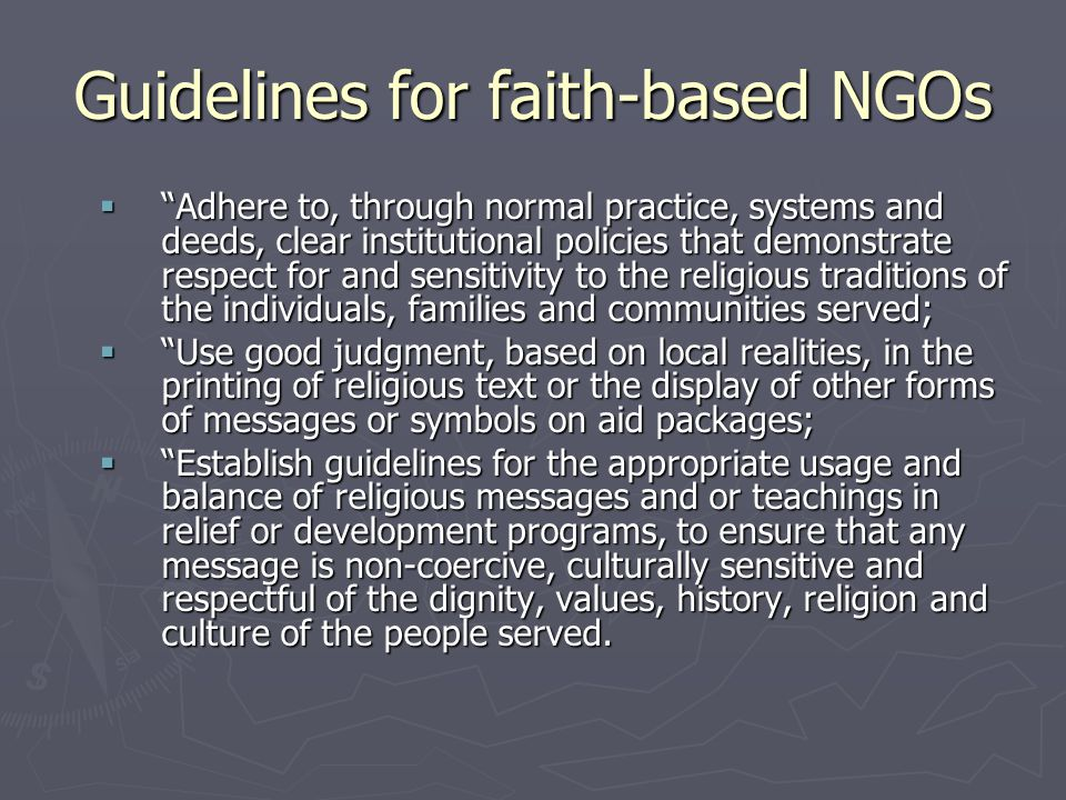 Guidelines for faith-based NGOs