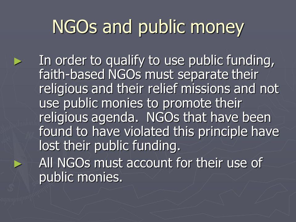 NGOs and public money