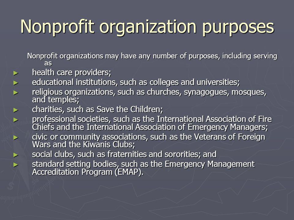 Nonprofit organization purposes