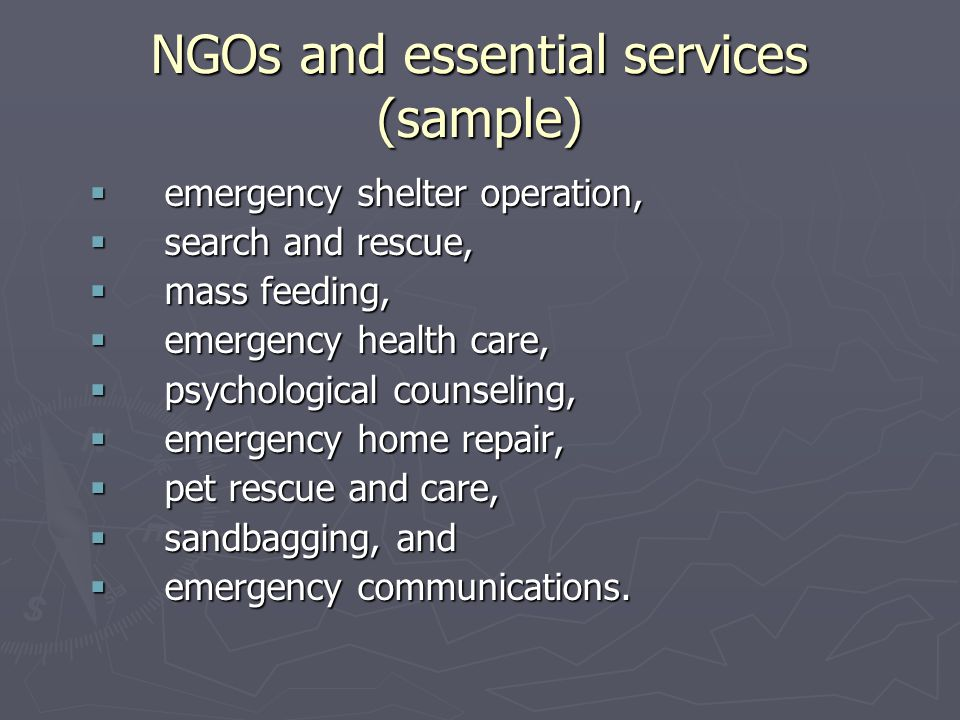 NGOs and essential services (sample)