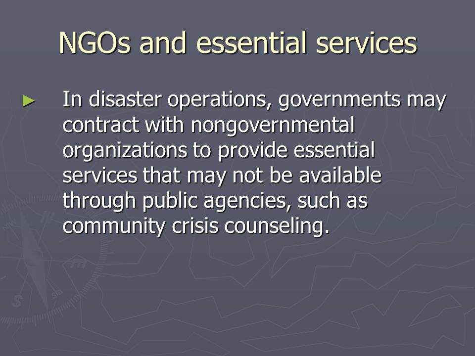 NGOs and essential services