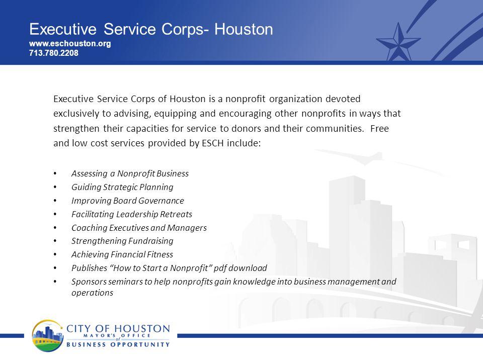Executive Service Corps- Houston www.eschouston.org 713.780.2208