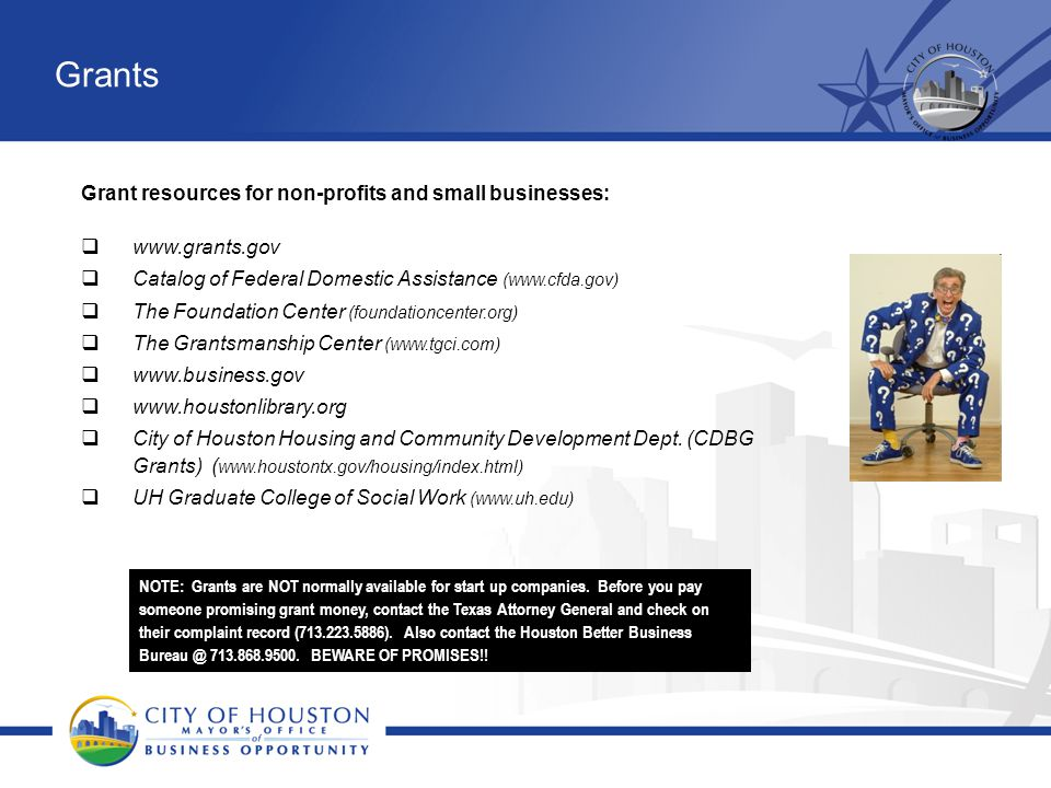 Grants Grant resources for non-profits and small businesses: