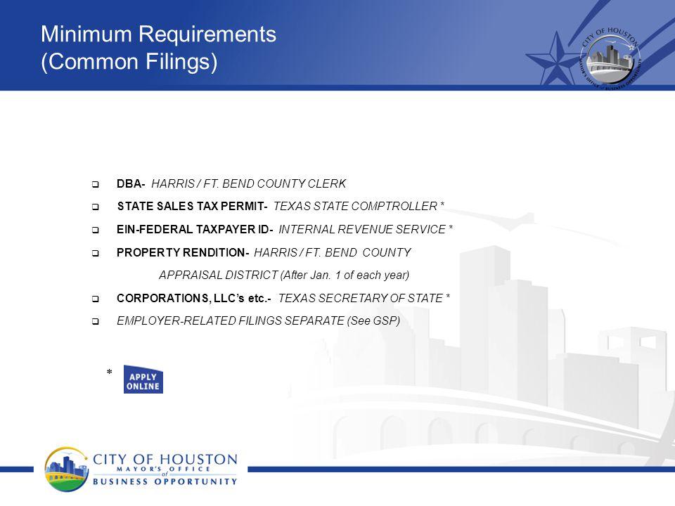 Minimum Requirements (Common Filings)