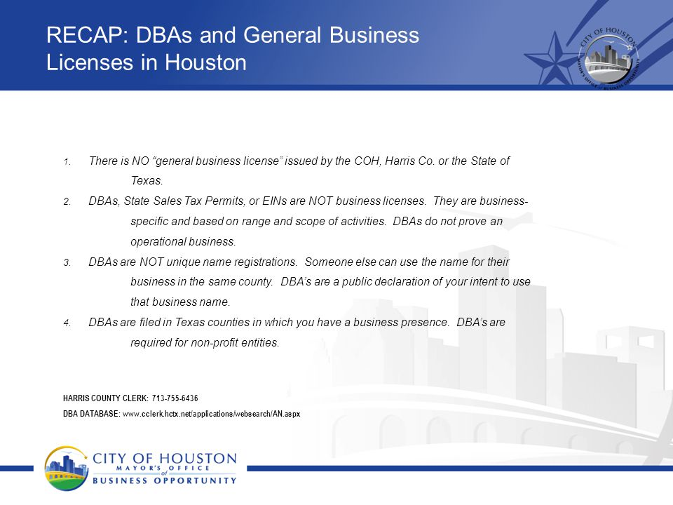 RECAP: DBAs and General Business Licenses in Houston