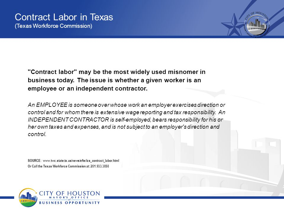 Contract Labor in Texas (Texas Workforce Commission)