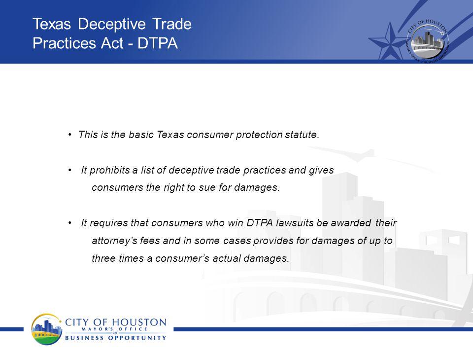 Texas Deceptive Trade Practices Act - DTPA