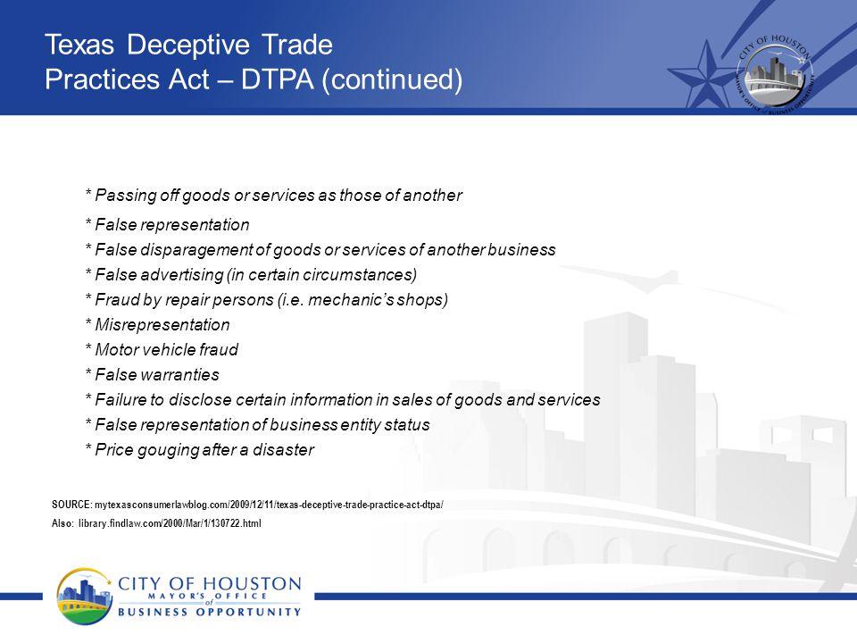 Texas Deceptive Trade Practices Act – DTPA (continued)
