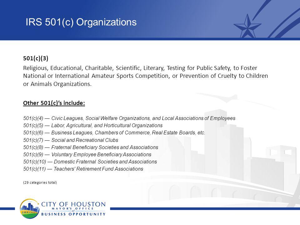 IRS 501(c) Organizations 501(c)(3)