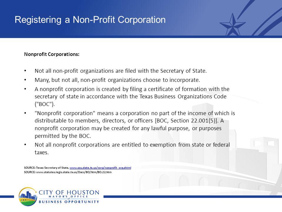 Registering a Non-Profit Corporation