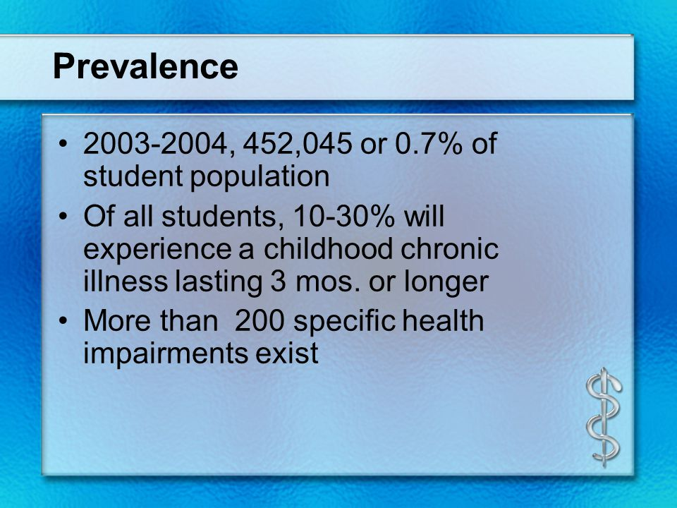 Prevalence 2003-2004, 452,045 or 0.7% of student population