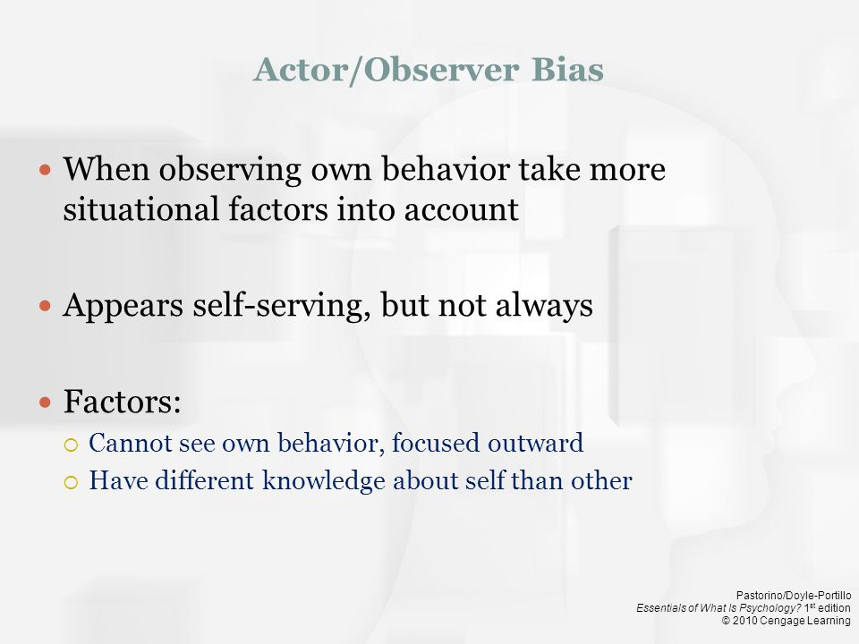 When observing own behavior take more situational factors into account
