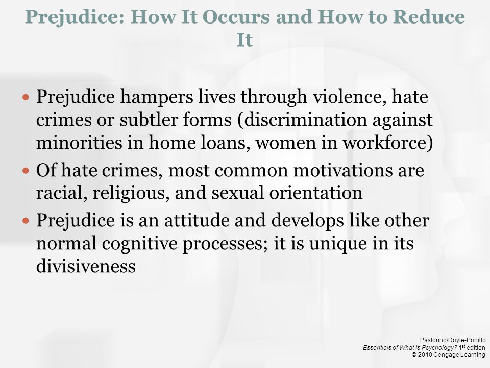 Prejudice: How It Occurs and How to Reduce It