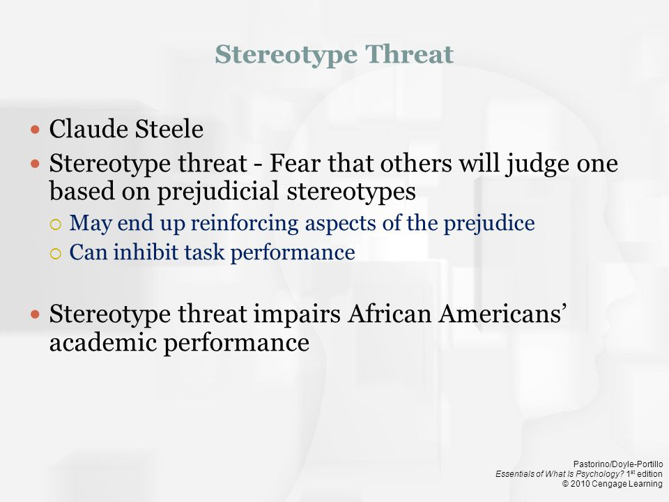 Stereotype threat impairs African Americans' academic performance