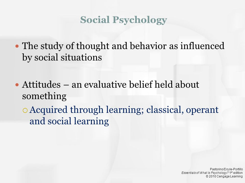 Social Psychology The study of thought and behavior as influenced by social situations. Attitudes – an evaluative belief held about something.