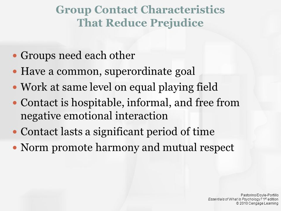 Group Contact Characteristics That Reduce Prejudice
