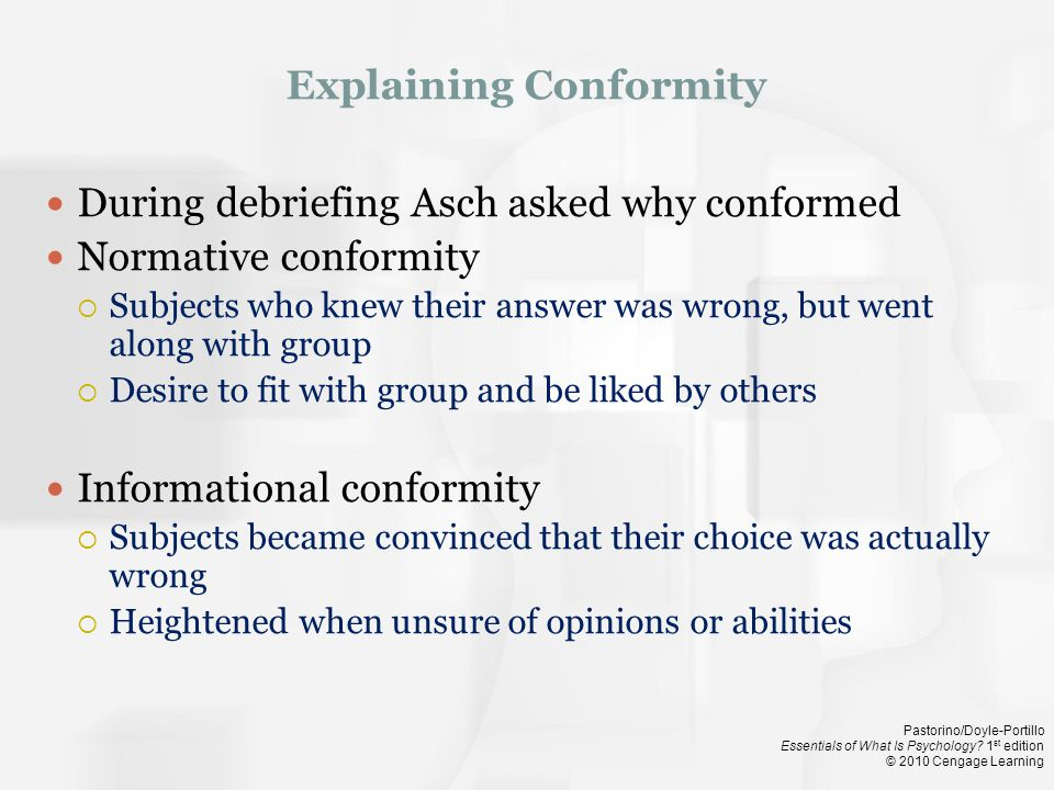 Explaining Conformity
