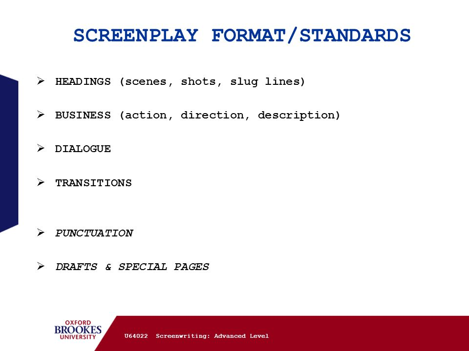SCREENPLAY FORMAT/STANDARDS