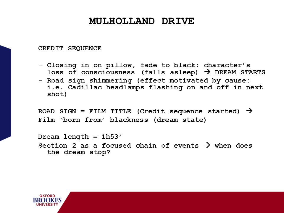 MULHOLLAND DRIVE CREDIT SEQUENCE