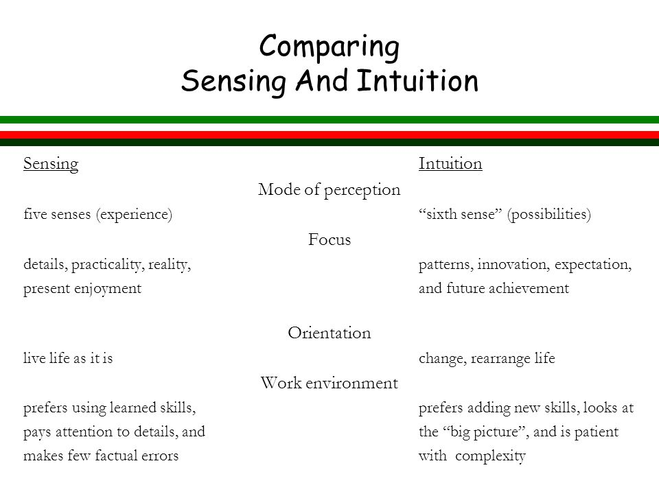 Comparing Sensing And Intuition