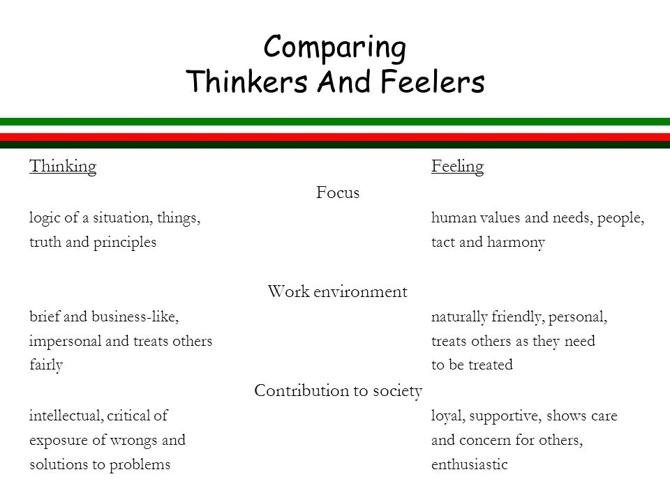 Comparing Thinkers And Feelers