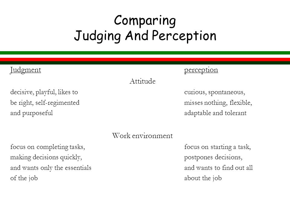 Comparing Judging And Perception