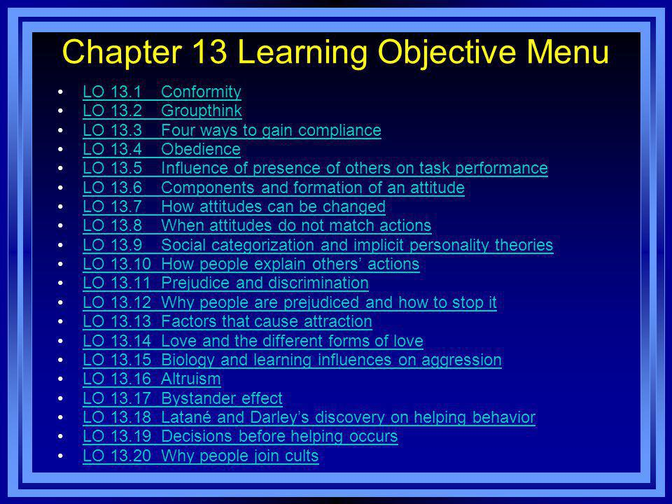 Chapter 13 Learning Objective Menu