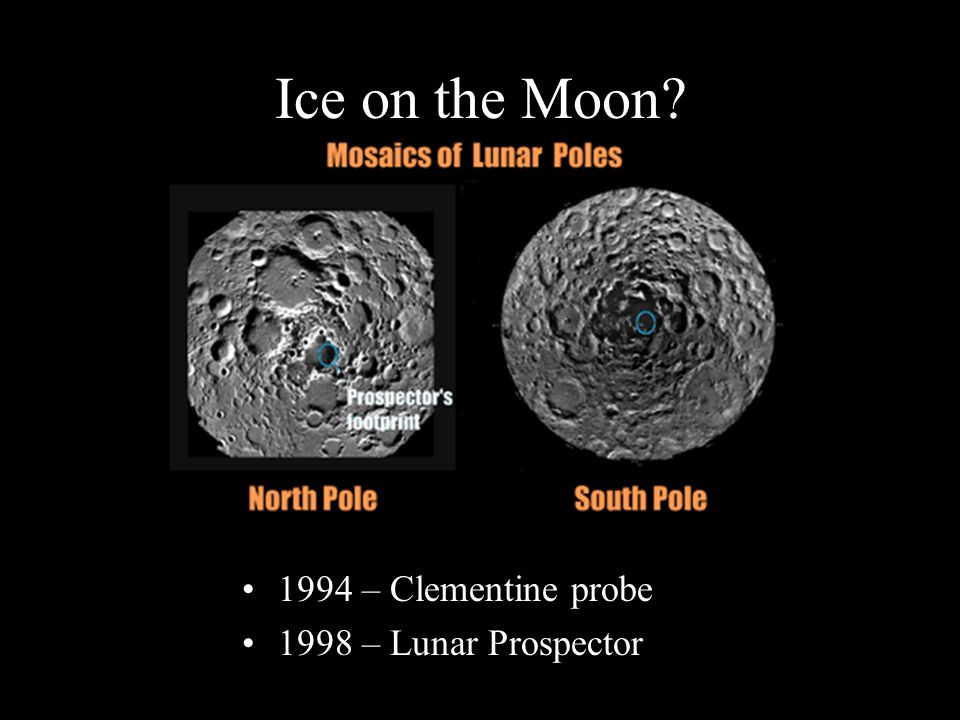 Ice on the Moon 1994 – Clementine probe 1998 – Lunar Prospector