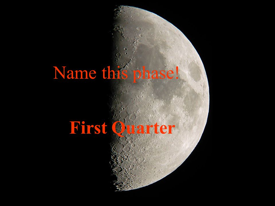Name this phase! First Quarter