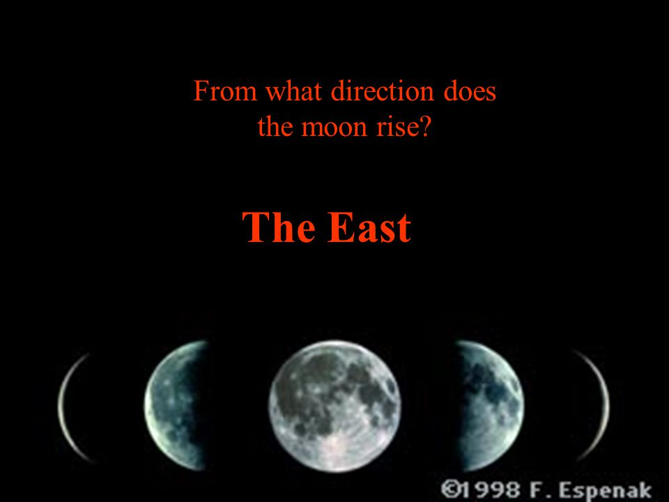 From what direction does the moon rise