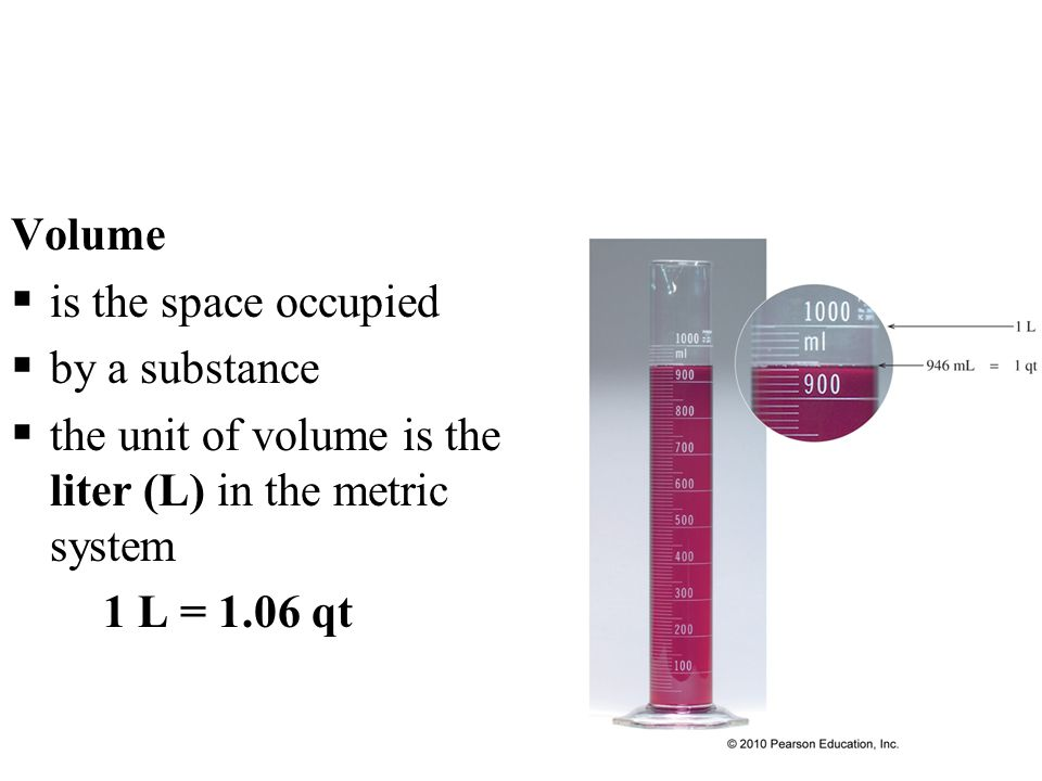 Volume is the space occupied. by a substance. the unit of volume is the liter (L) in the metric system.