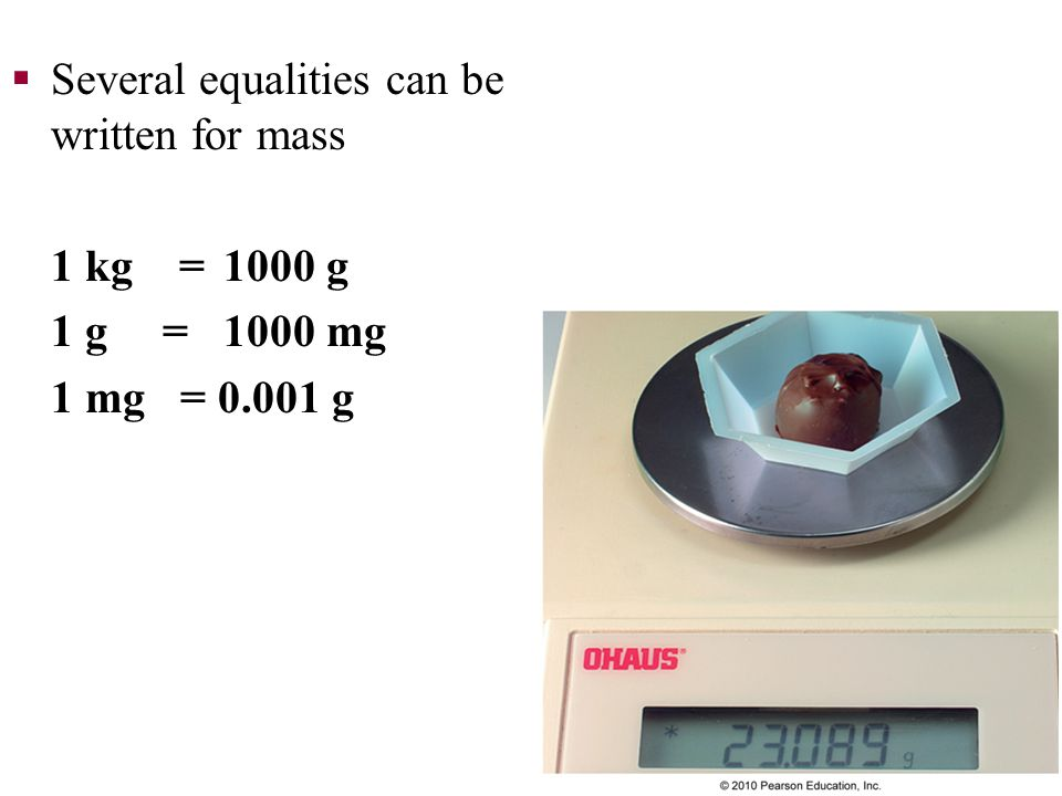 Several equalities can be written for mass
