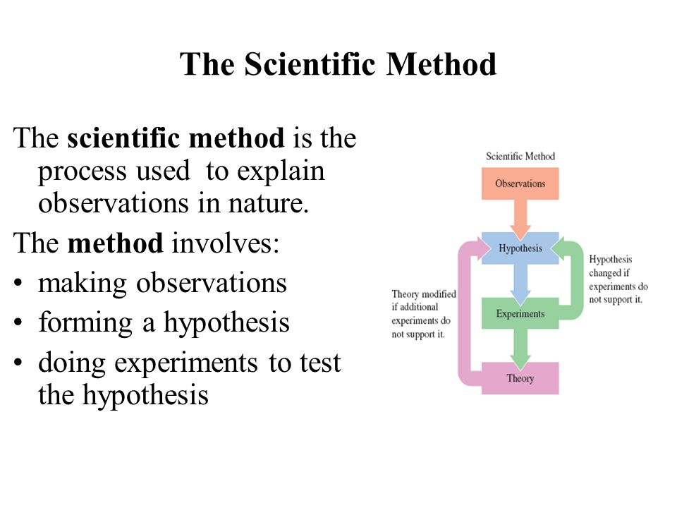 The Scientific Method The scientific method is the process used to explain observations in nature.